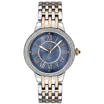 Gv2 Tekijä Gevril Women's 9149 Astor II Diamond MOP Dial Kaksisävyinen IP Steel Watch