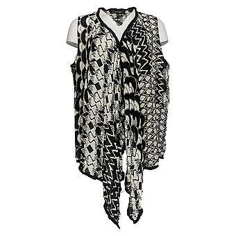 Colleen Lopez Women's Drape-Front Vest With Pom Pom Trim Black 694-147