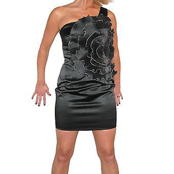 Mujeres's Slim Fit Mini Vestido Señoras Satin un hombro flor verano noche fiesta Bodycon vestido 8-12