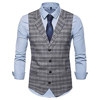 YANGFAN Mens Check Suit Vest Single Breasted Casual Waistcoat