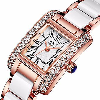 Elegant Ceramic Strap Crystal Case Roman Numerals Dial Ladies Dress Quartz Watch