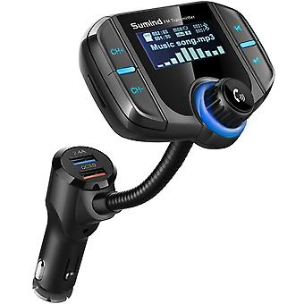 (Upgraded version) car bluetooth fm transmitter, wireless radio adapter hands-free kit with 1.7 inch