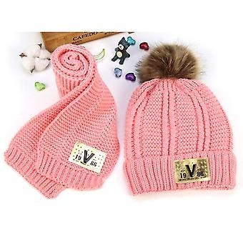 Conjunto de sombrero de bufanda, punto niños invierno