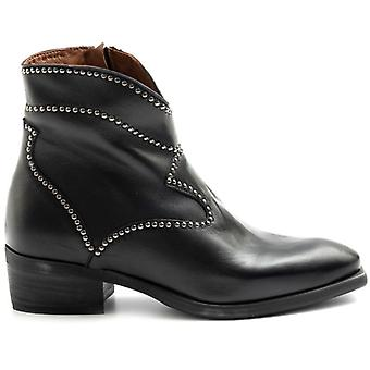 Zoe Texan Ankle Boots in Black Leather With Studs