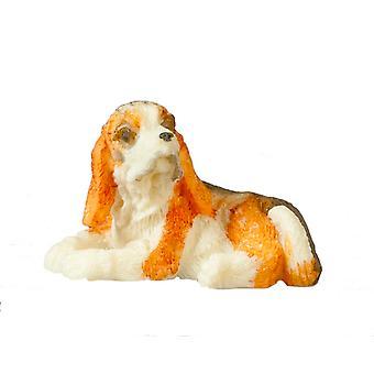 Dolls House Tri Color Spanial Deitado Pequeno Cão de Estimação Miniatura 1:12 Acessório