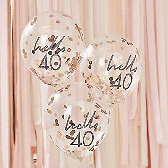Hello 40 Rose Gold Confetti Birthday Balloons x 5
