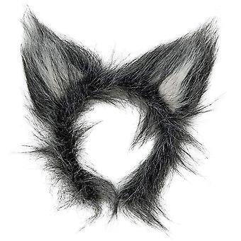 Plyšové vlčí uši příslušenství pro zvířecí maškarní 1 vícebarevné