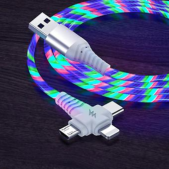 Ilano 3 in 1 Luminous Charging Cable - iPhone Lightning / USB-C / Micro-USB - 2 Meter Charger Data Cable Rainbow