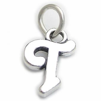 Script Letter T Initial Sterling Silver Charm .925 X 1 Letters Charms - 4272