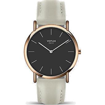 VOTUM - Reloj de señora - SLICE SMALL - PURE - V05.20.20.05 - correa de cuero - blanco-écru