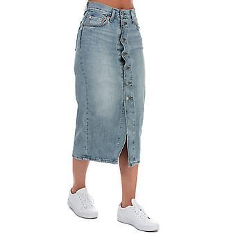 Dames>Levis Button Front Midi Skirt in Blauw