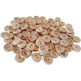 15mm,'Handmade with Love' Printed Wood Finish Plastic Buttons 2 Holes
