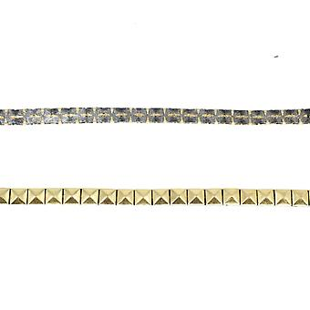 8mm Metal Gold Pyramid Stud Trim Nailhead Mesh Lace Iron-on Decoration