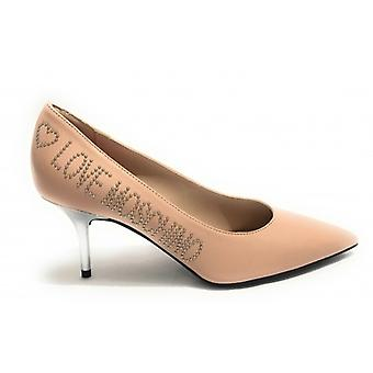 Zapatos Mujer Amor Moschino Decollete A Punta Tc 60 Piel Polvo Rosa Ds19mo07