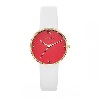 Trendy Kiss horloge TG10105-06-Laura Bo tier staal dor lederen armband wit rode wijzerplaat vrouwen