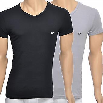 Emporio Armani 2-Pack Stretch Cotton V-Neck T-shirt, Black/Grey, X-Large