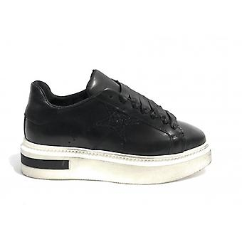 Shoes Woman Tony Wild Sneaker Bottom Wedge Leather Col. Black Star D18tw02