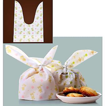 Söpö kukka painettu, Kanin korva Design-muovipussi kekseille / välipalalle