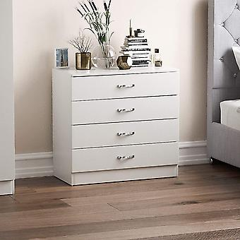 Gerui White Chest of Drawers, 4 Drawer With Metal Handles & Runners, Unique Anti-Bowing Drawer