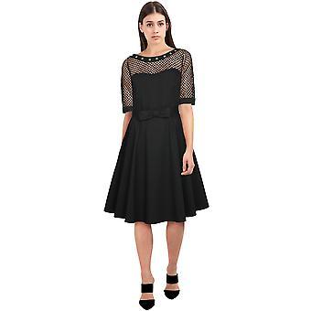 elegant stjerne pluss størrelse fishnet kjole i svart / stud
