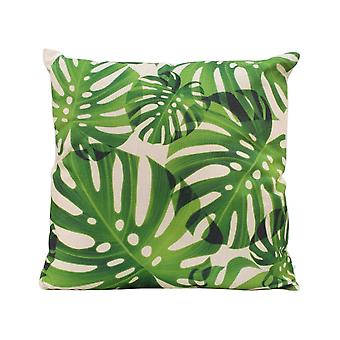 pillow leaves 45 x 45 cm cotton natural/green