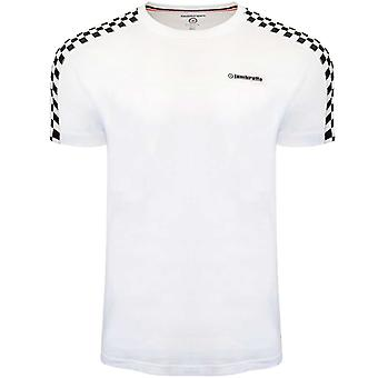 Lambretta Heren Twee Gestemde Taped Crew Neck Geruit T-Shirt T-Shirt Top - Wit