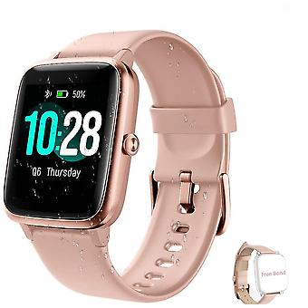 Smartwatch with Waterproof IP68 Sport Vibrating Cardio Compatible IOS, Android-Pink