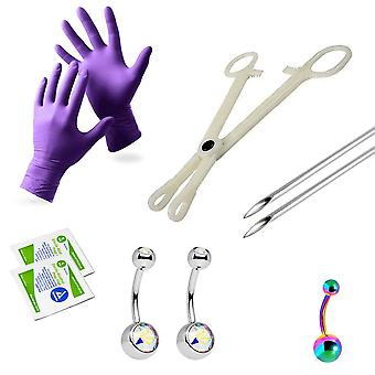 Liongothic navel piercing kit surgical steel with anodized multicolor forceps
