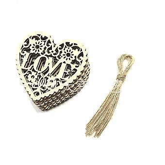 10pcs/lot Wooden Love Carving Diy Jewelry Accessories Wedding Caring Decoration