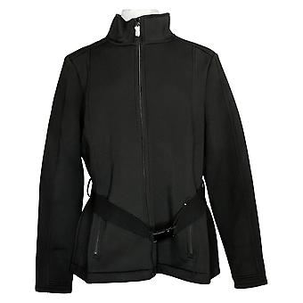 zuda Women's Jacket Belted Scuba Knit Zip Front Black A382599