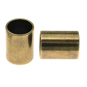 Regaliz Findings, Tube Spacer Bead 16x12mm Fits 10mm Round Cord, 1 Piece, Antiqued Brass