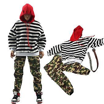 Mand hætteklædte skjorte, camouflage bukser til 12 inches, actionfigurer