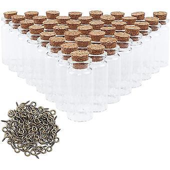 FengChun 96 Stück Mini Glasflaschen mit Korken klein Glasfläschchen, mit 100 Augenschrauben, für die