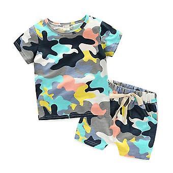 Todelt sæt bomuld t-shirt + bukser til baby børn