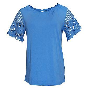 Susan Graver Women's Top Peasant w / Manches en dentelle Bleu A353336