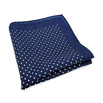 Tummansininen & Valkoinen polkka suuri 33cm Hanky tasku neliö
