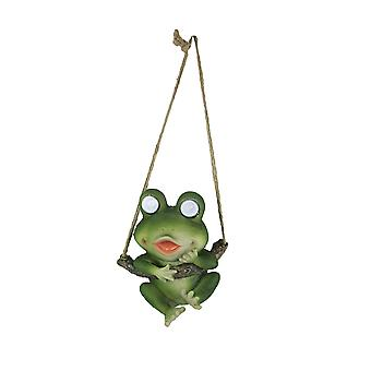 Resin Hanging Frog Garden Statue Solar LED Eye Lights Animal Yard Decoration