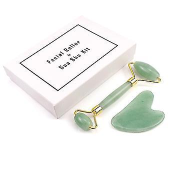 Jade Roller ja Gua Sha Board Kit Kasvohieronta Luonnollinen kivi kehon kaavin ihonhoitotyökalut (vihreä)