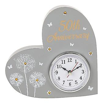 Joe Davies Celebration 50th Golden Anniversary Standing Heart Clock 200252