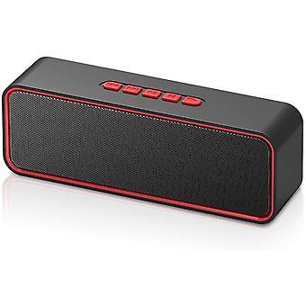 Беспроводной динамик Bluetooth, портативный динамик Bluetooth 5.0, с двумя басами драйвера, 3D-стерео, FM-радио, функция громкой связи, встроенная батарея 1500 мАч, 12 часов воспроизведения (красный)