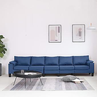 vidaXL 5-Sitzer-Sofa Blau Stoff