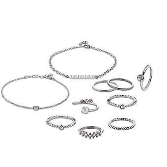 10 kpl kultaa hopea pinnoitettu keinotekoinen helmi renkaat naisten rannekorut korut asettaa HOPEA VÄRI
