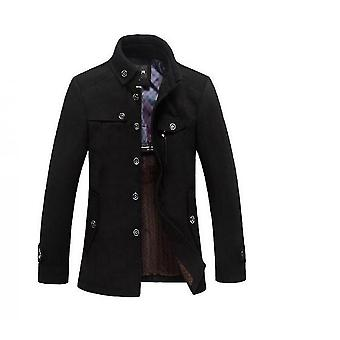 Men's Stand Collar Wool Blend Pea Coat With Fleece Lined(L)