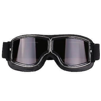 Occhiali moto Harley in stile retrò, occhiali da fuoristrada antivento all'aperto (nero + grigio)