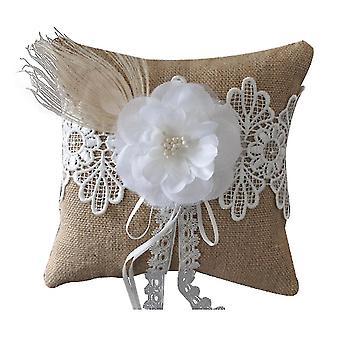 Beach Burlap Feather Flower Ring Pillow Bridal Wedding Pillow Cushion Holder