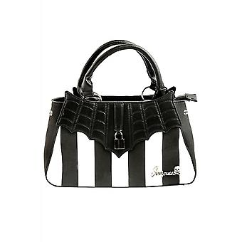 Sourpuss Clothing Locked Out Black & White Striped Handbag