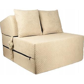 Materasso letto di lusso - beige - materasso da campeggio - materasso da viaggio - materasso pieghevole - 200 x 70 x 15 - con cuscini