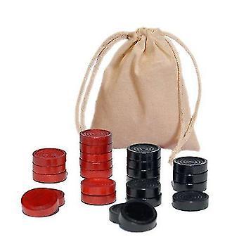 積み重ね可能な尾根付きタイルゲーム木製チェッカー - 赤/黒