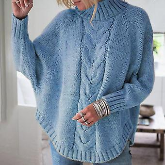 Cable-knit Sweater Women Warm High Neck Pullover Jumper Baggy Top