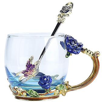 Taza de té Taza de café Tazas de vasos con cuchara Hermosa rosa mariposa
